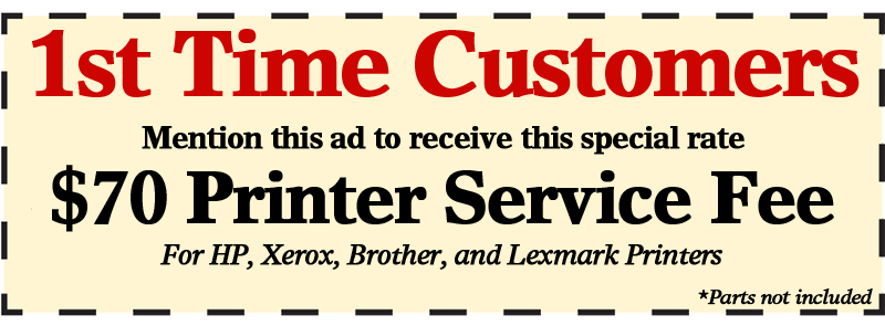 Printer Service Repair Coupon New Customer New Jersey Philadelphia